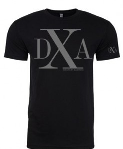 men black crewneck dxa silver